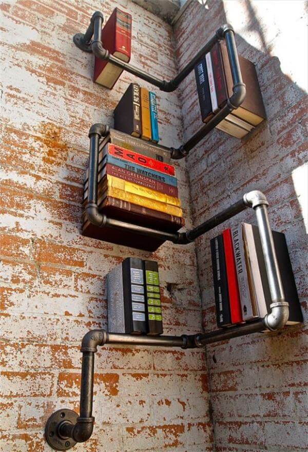 diy corner pipe bookshelf idea