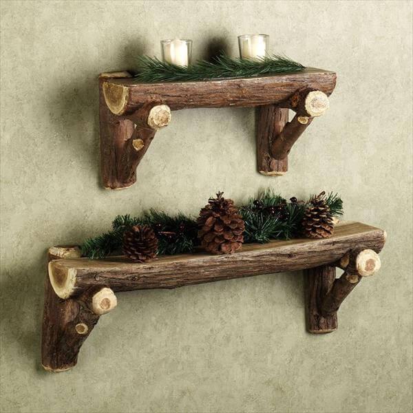 homemade wood log shelves