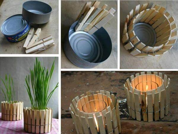 diy wooden clip stick candle holder