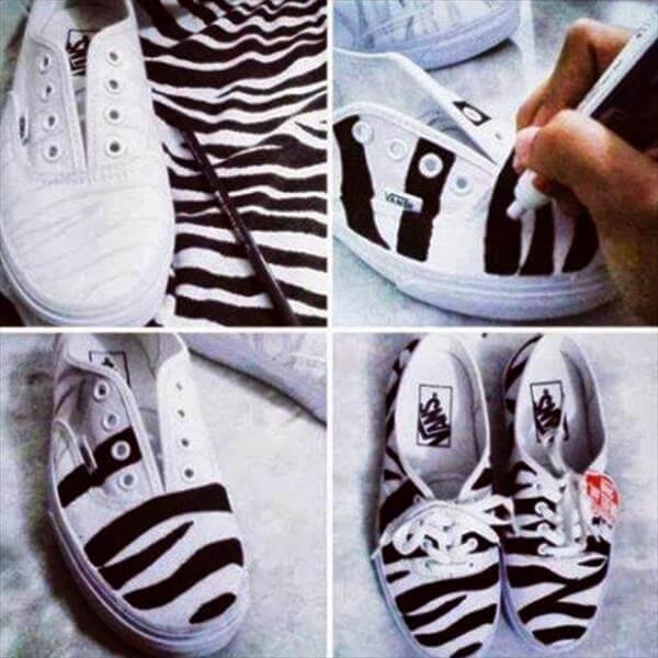 diy self made zebra sneakers