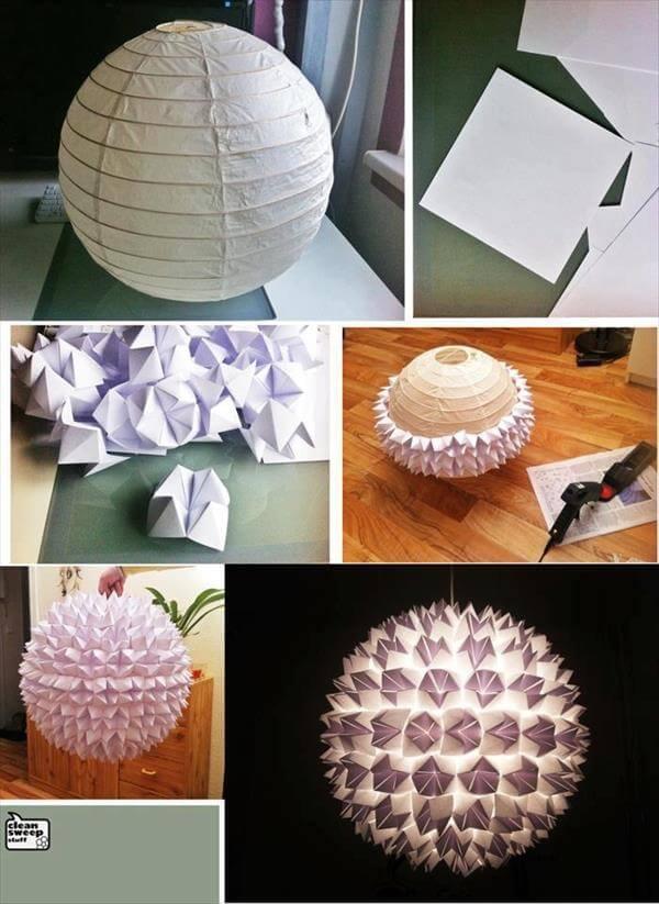 diy self made paper chandelier