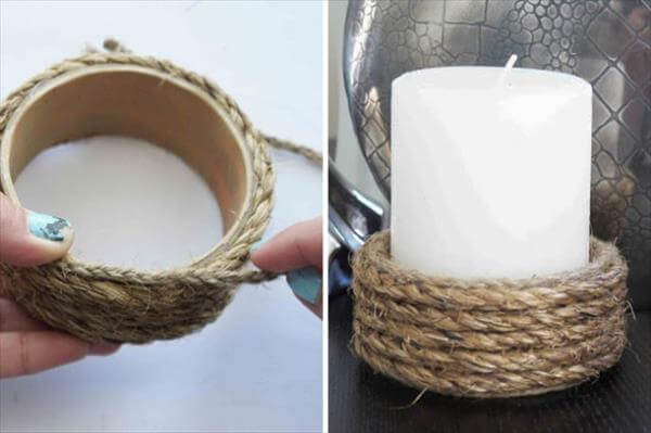 diy handcrafted rop wrapped candle holder