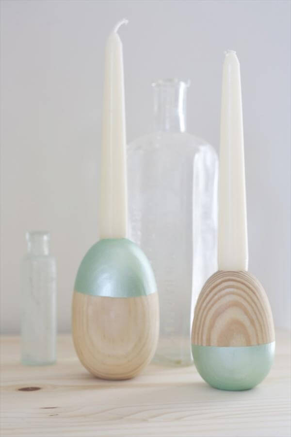 diy handmade wooden egg candle holders