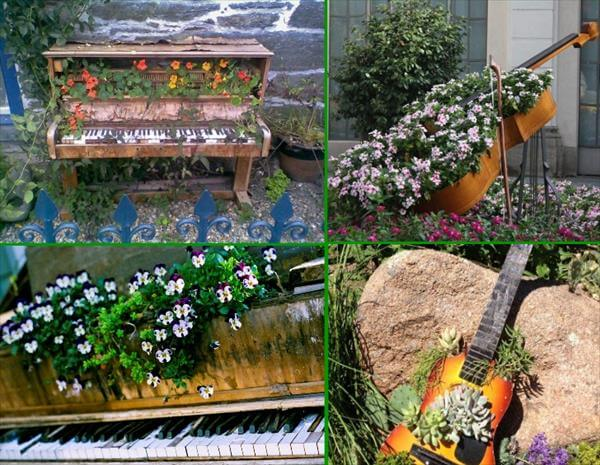 reclaimed piano and gitar garden creepers