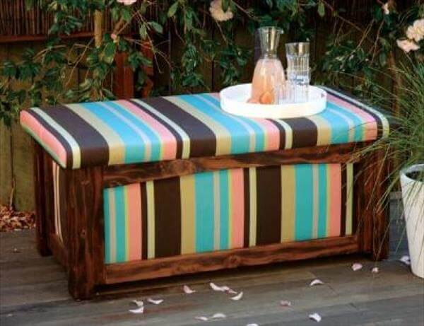 diy pallet patio bench with storage
