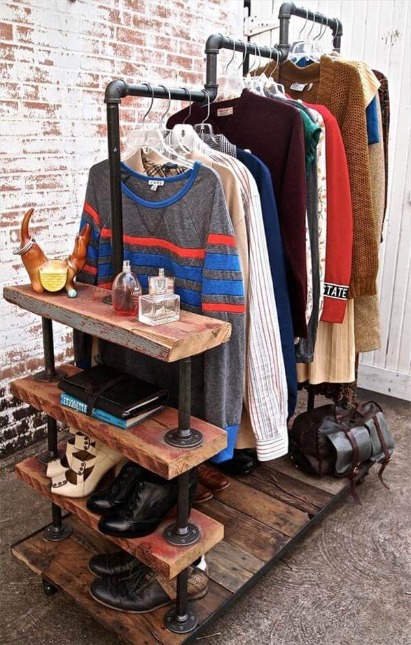 reclaimed wood and wiring pipe cloth rack