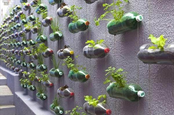 reclaimed plastic bottles vertical garden