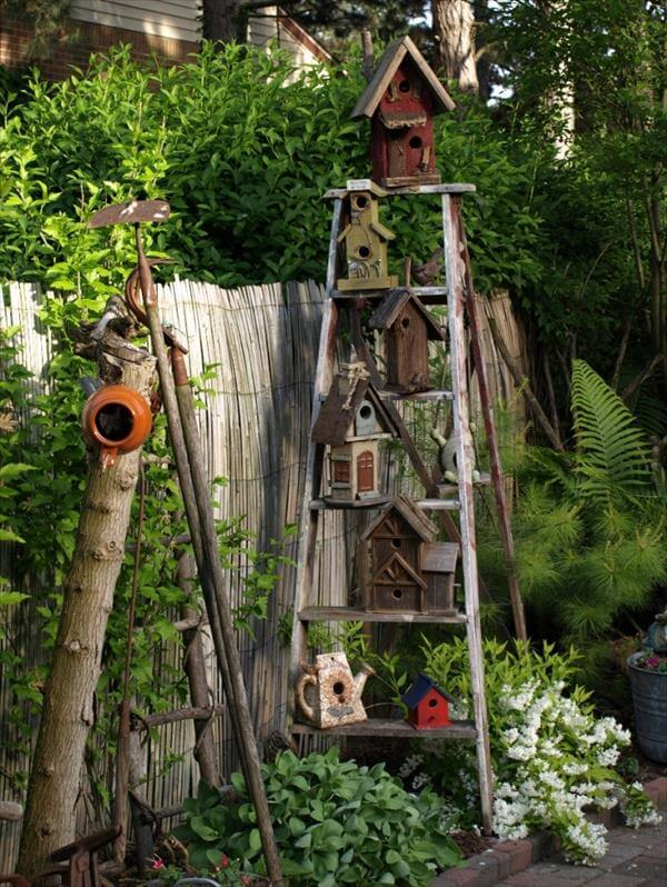 old ladder birdhouse rack for garden