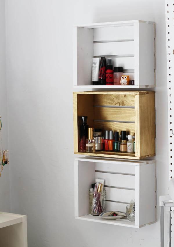 reclaimed pallet crate makeup rack