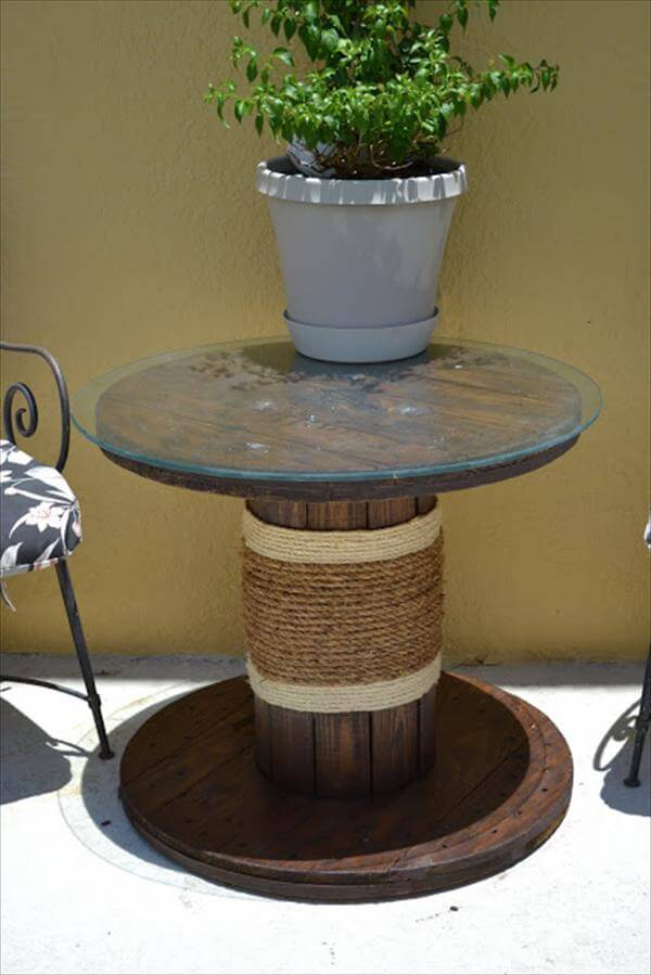 upcycled wire roll table