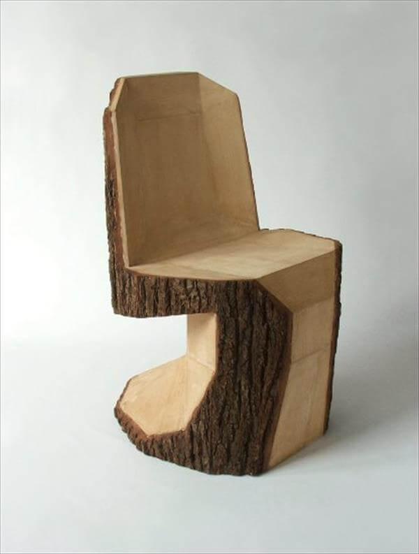 handcrafted wood log chair diy