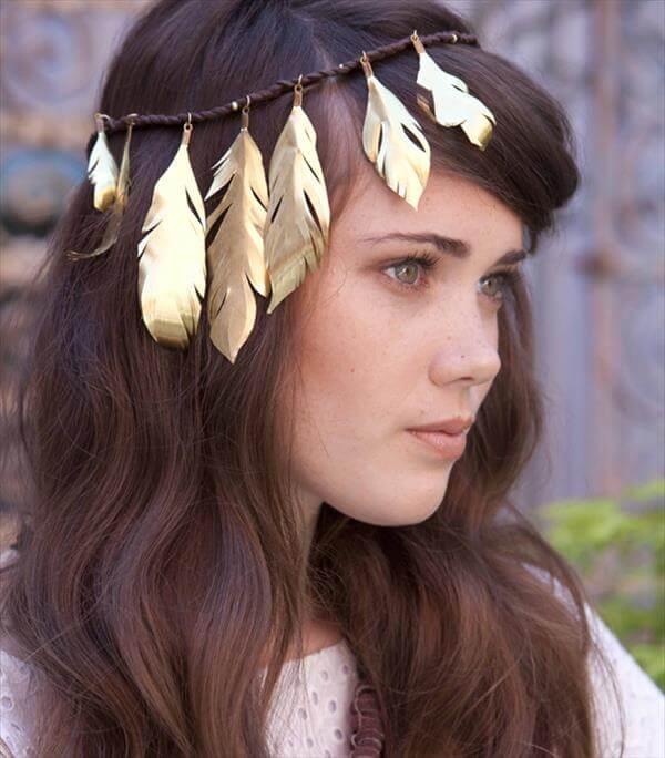 diy sparkling feather headbanda