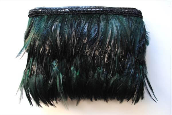 homemade feathered clutch