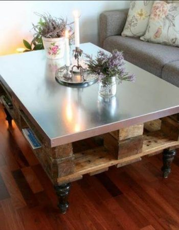 pallet and steel coffee table