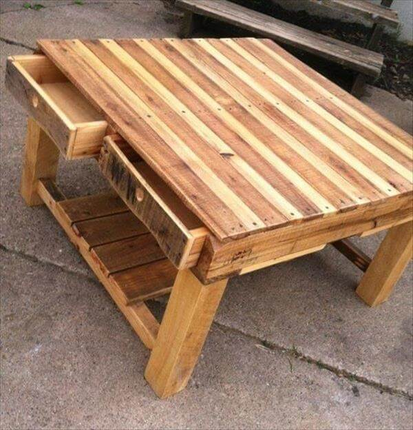 upcycled pallet table with drawers