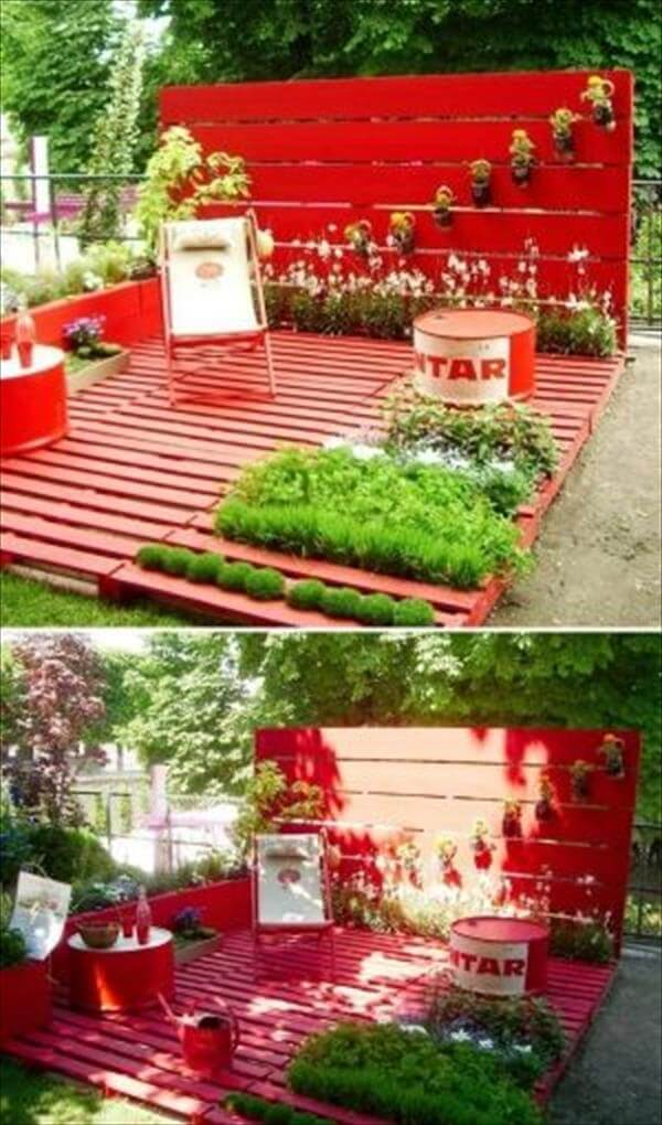 pallet garden and home deck renovation and decor idea