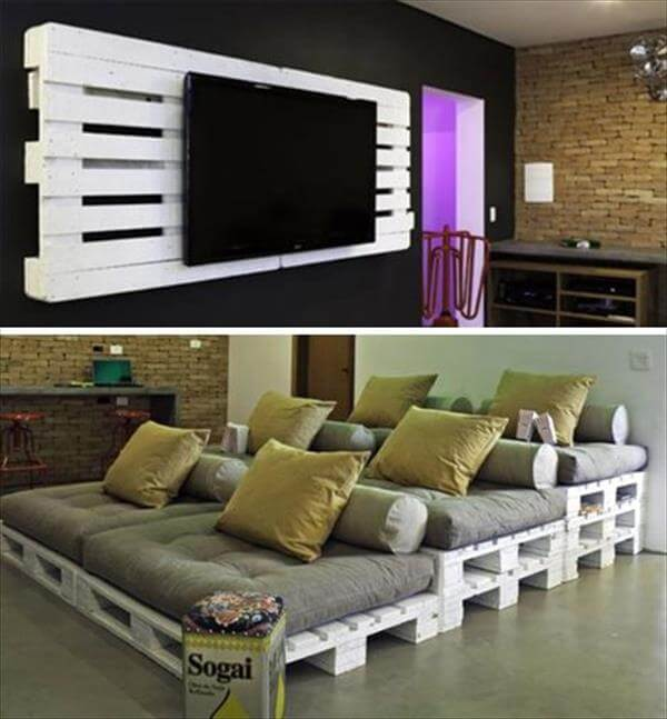 white painted whole pallet home theater