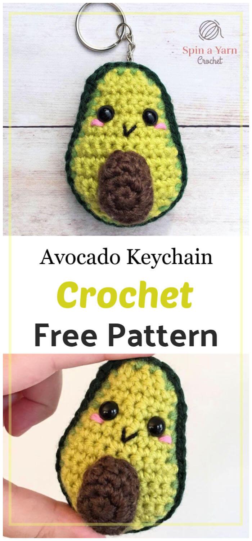 Avocado Keychain Free Crochet Pattern