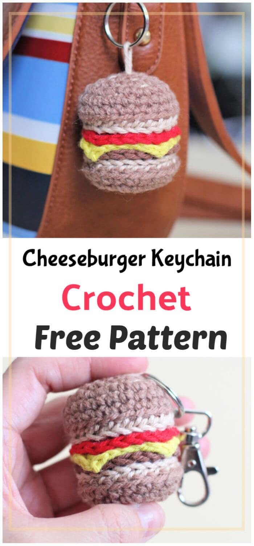Cheeseburger Keychain Free Crochet Pattern