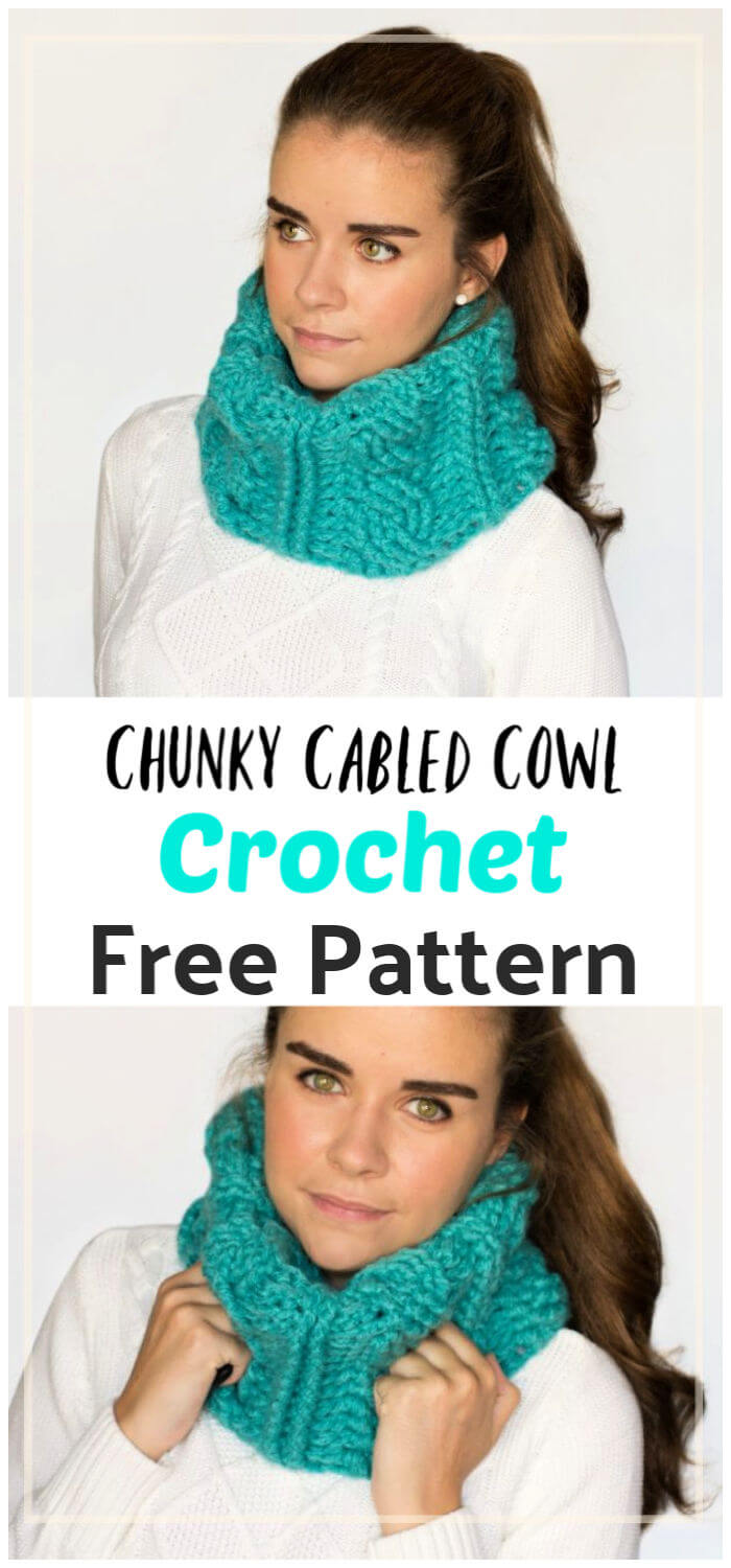 Chunky Cabled Cowl Free Crochet Pattern
