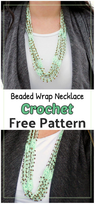 Crochet Beaded Wrap Necklace Free Pattern 1