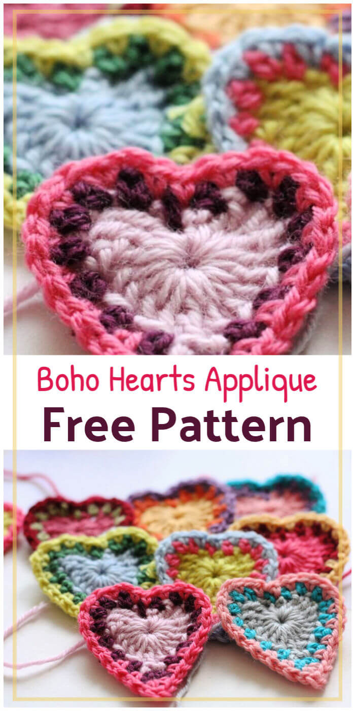 Crochet Boho Hearts Applique Free Pattern