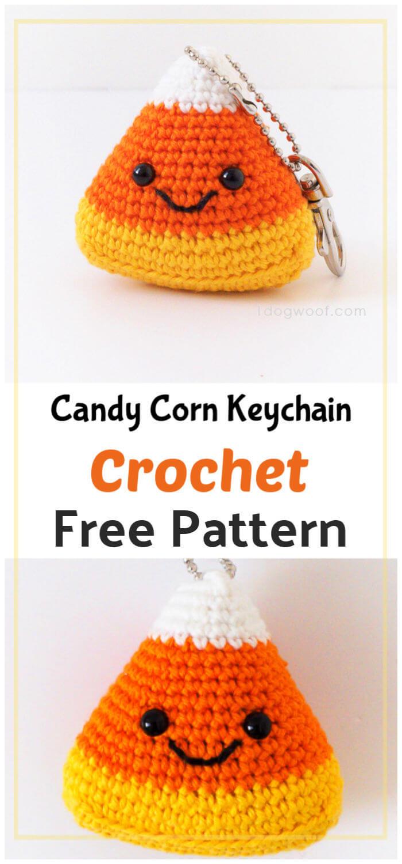 Crochet Candy Corn Keychain Free Pattern