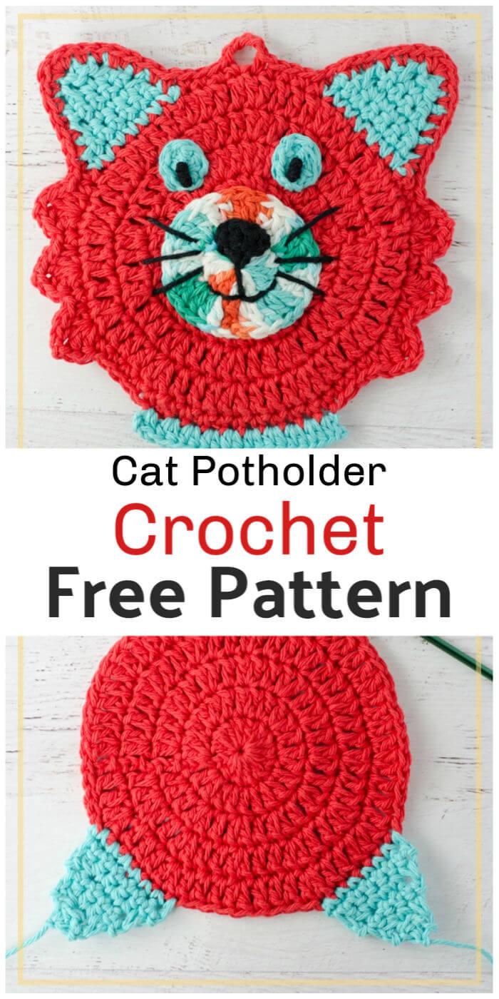 Crochet Cat Potholder Free Pattern