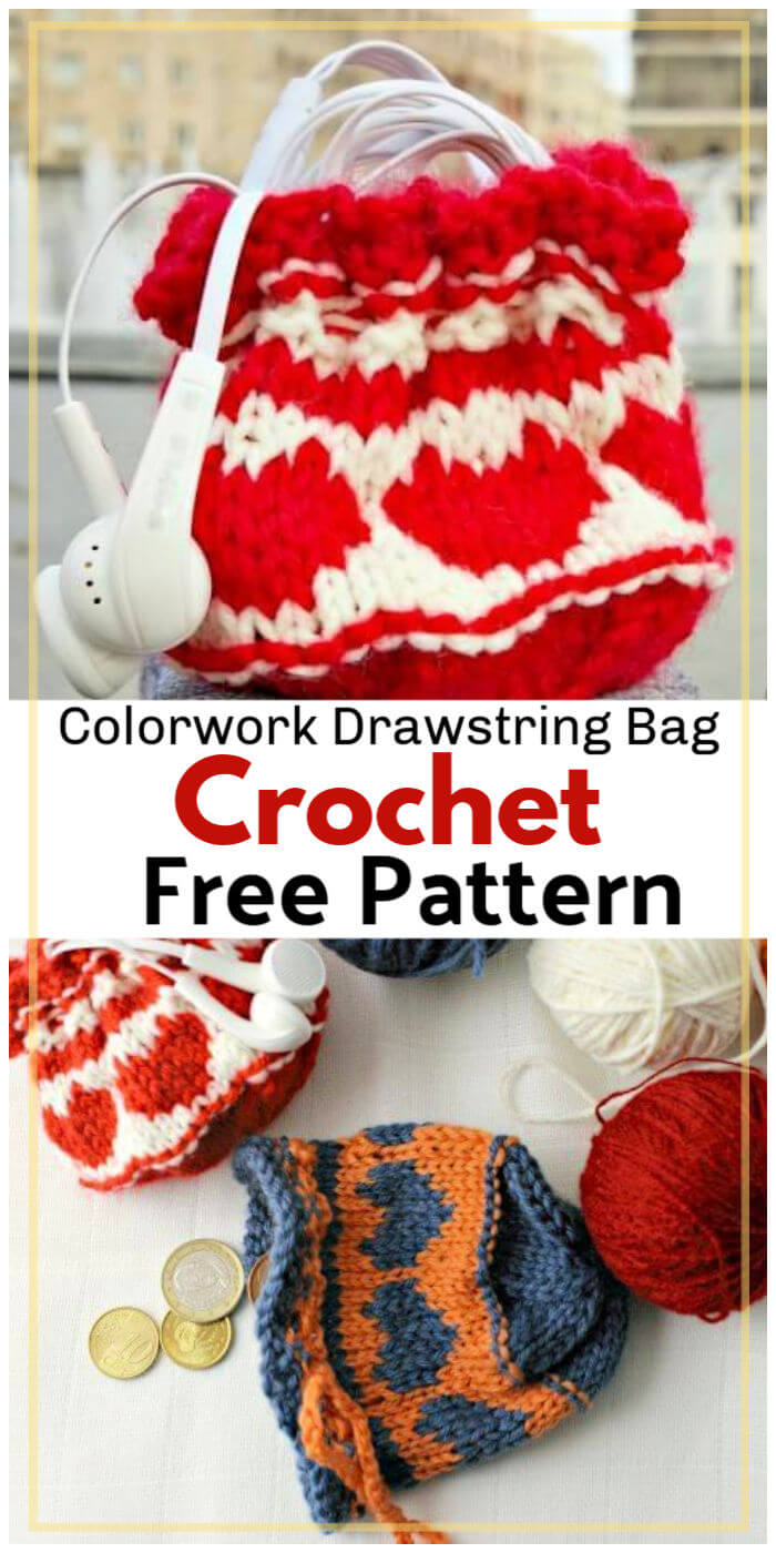 Crochet Colorwork Heart Drawstring Bag Free Pattern