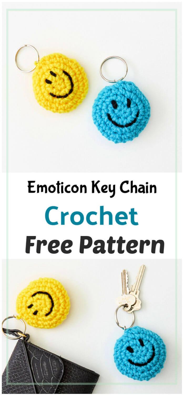 Crochet Emoticon Key Chain Free Pattern