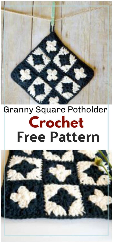 Crochet Granny Square Potholder Free Pattern