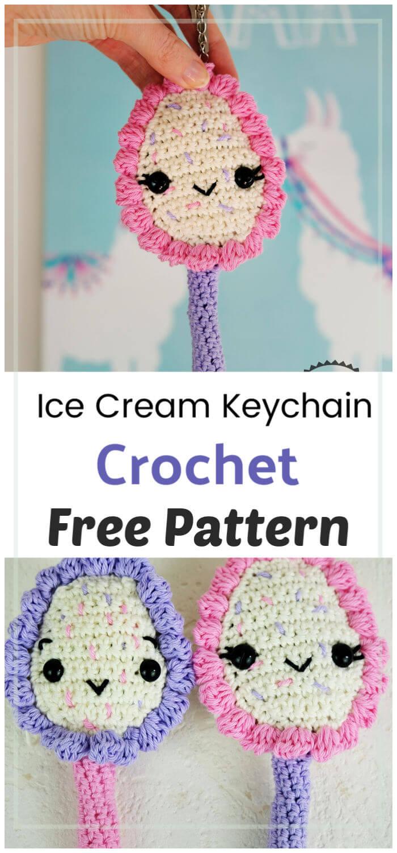 Crochet Ice Cream Keychain Free Pattern