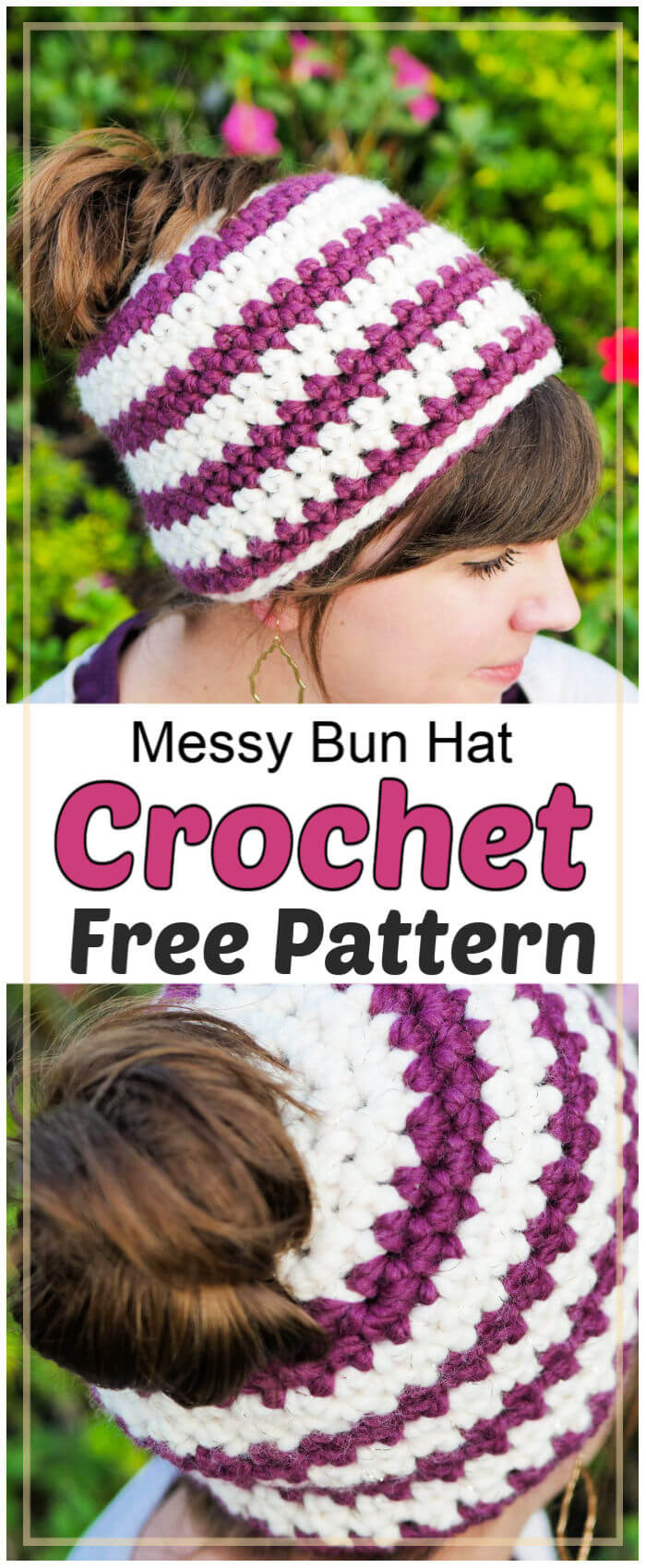 Crochet Messy Bun Hat Free Pattern