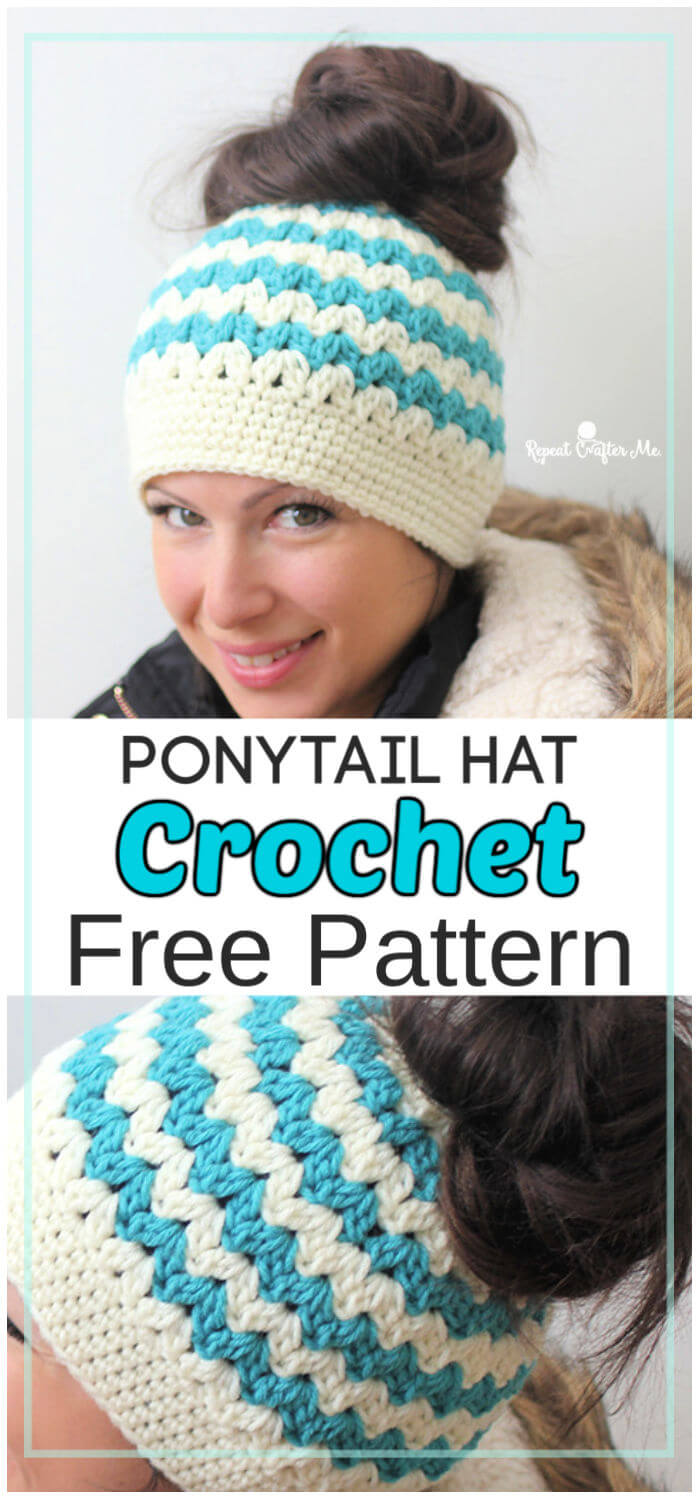 Crochet Mommy and Me Messy Bun Hats Free Pattern
