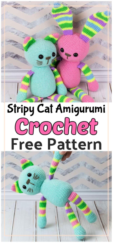 Crochet Stripy Cat Amigurumi Free Pattern