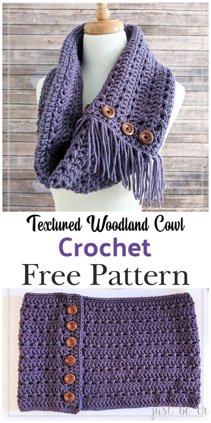 Crochet Textured Woodland Cowl Free Pattern
