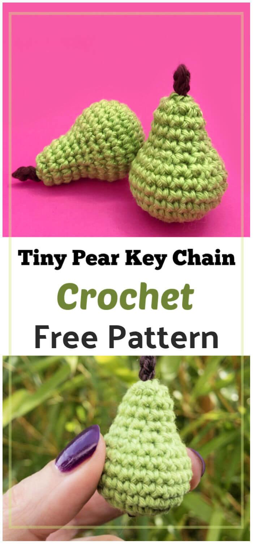 Crochet Tiny Pear Key Chain Free Pattern