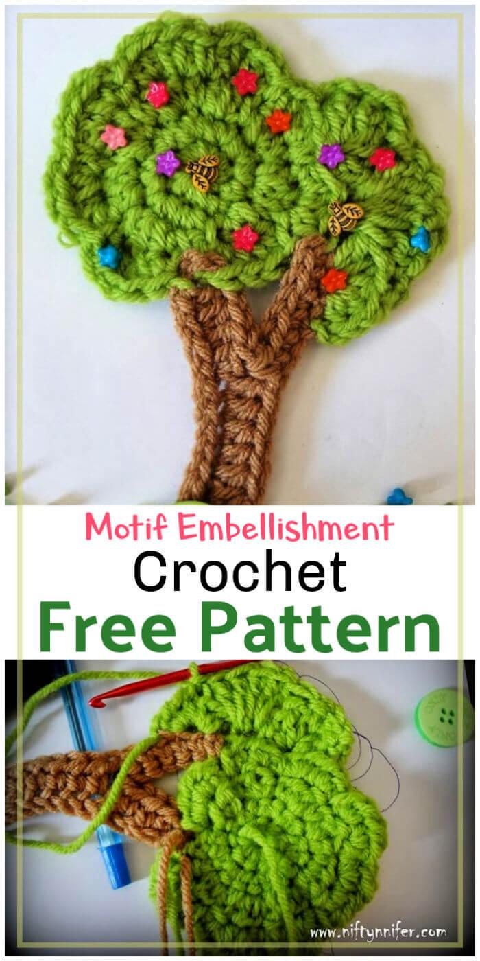 Crochet Tree Motif Embellishment Applique