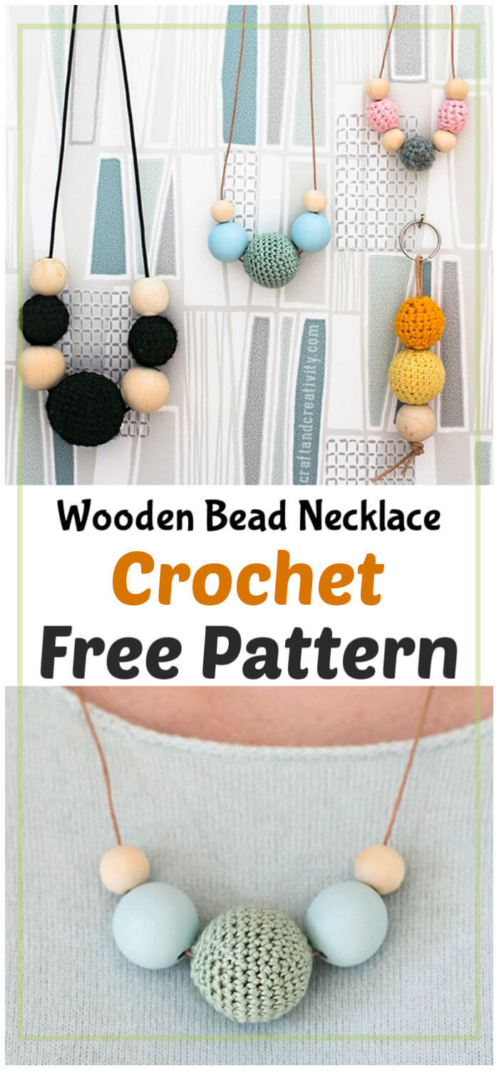 Crochet Wooden Bead Necklaces Free Pattern
