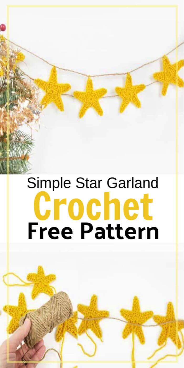 Easy Crochet Star Garland Free Pattern