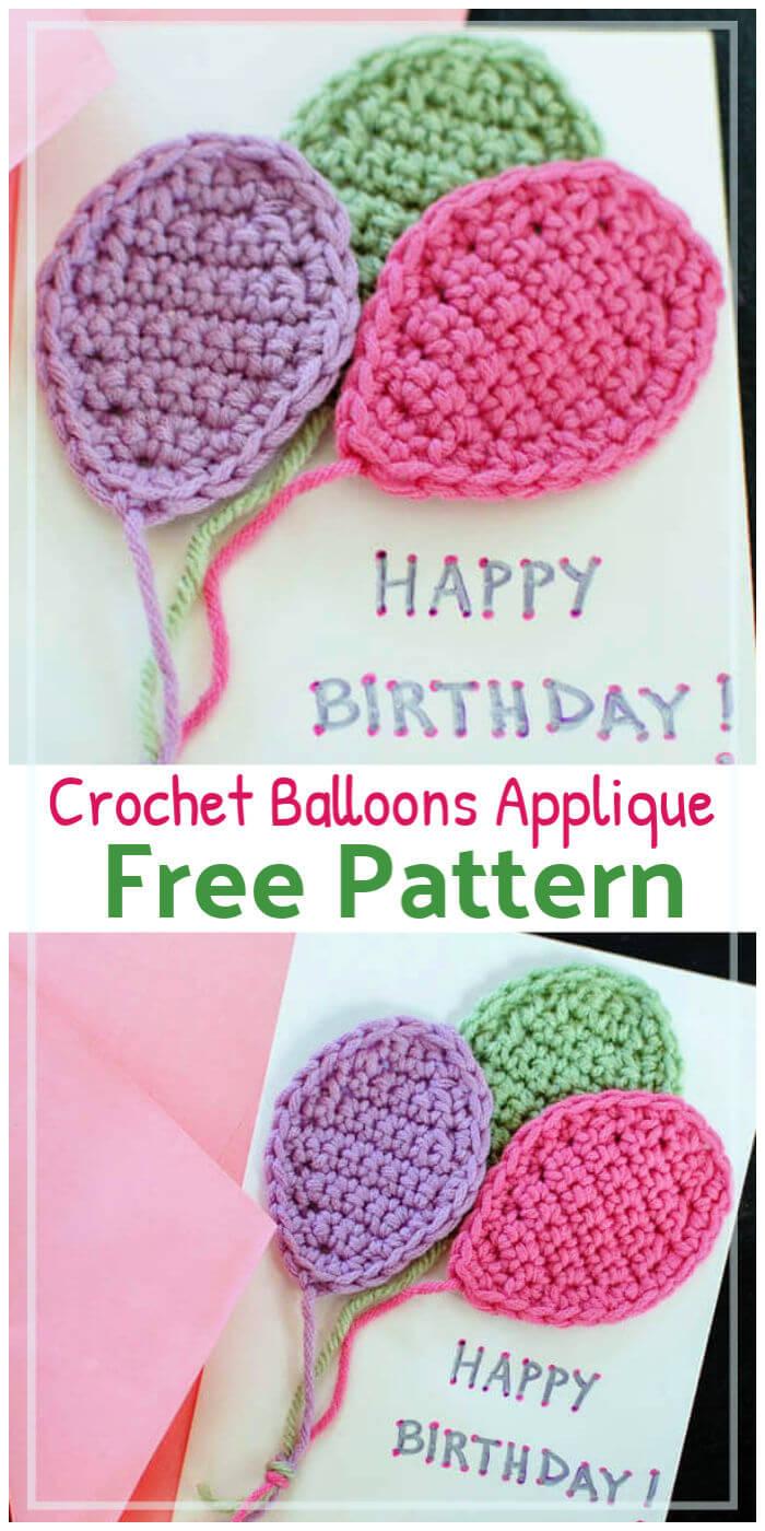 Free Crochet Balloons Applique Pattern