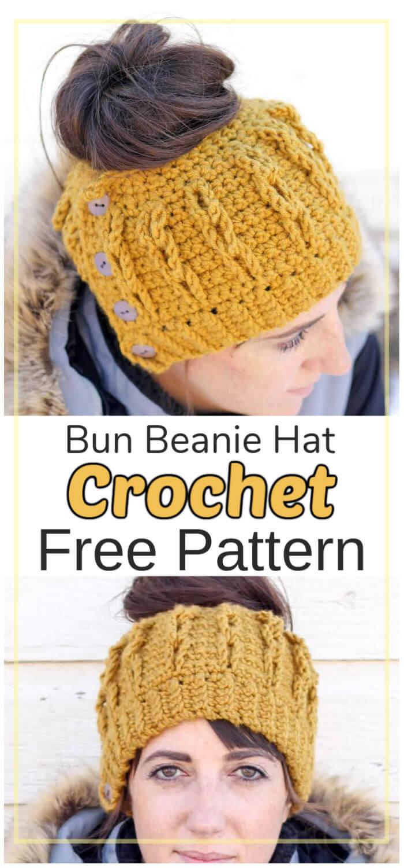 Free Crochet Bun Beanie Hat Pattern