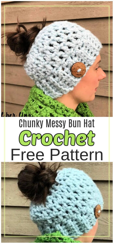 Free Crochet Chunky Messy Bun Hat Pattern