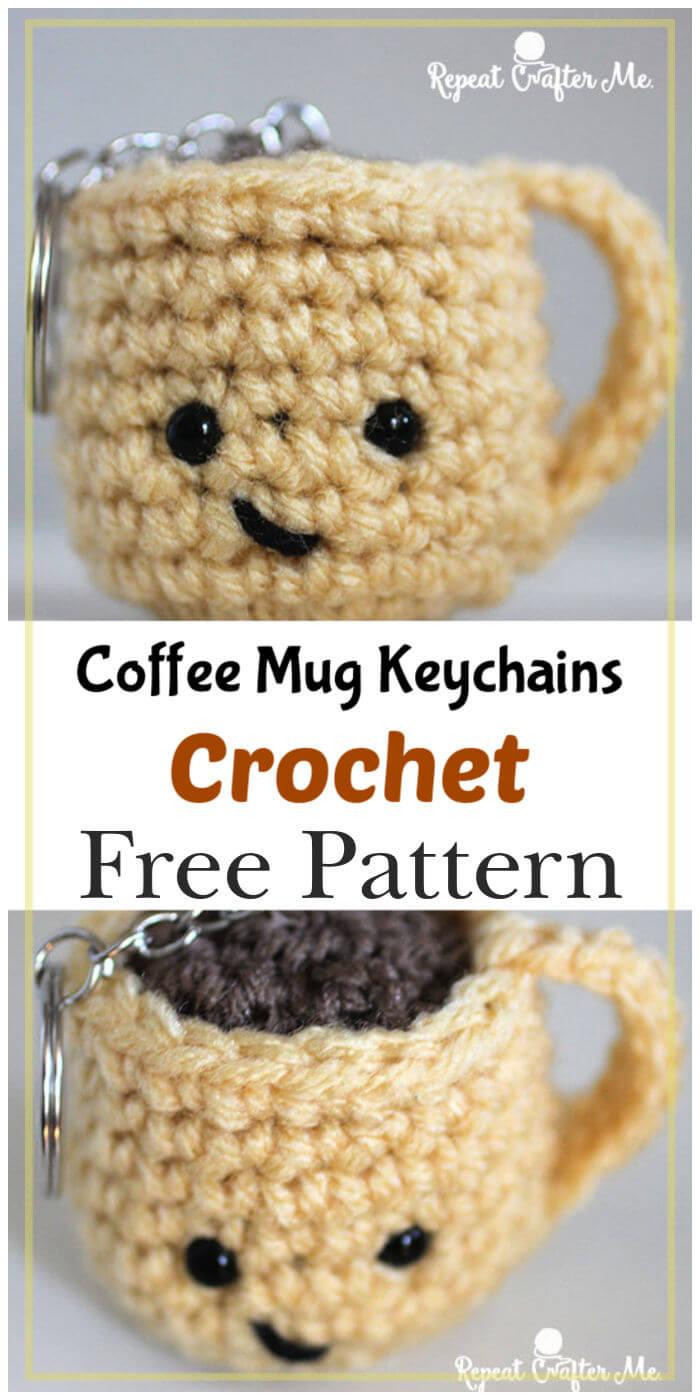 Free Crochet Coffee Mug Keychains Pattern