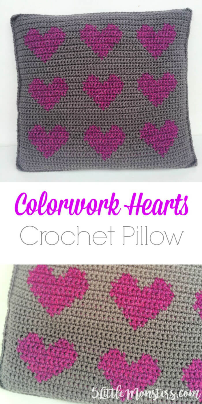 Free Crochet Colorwork Hearts Pillow Pattern