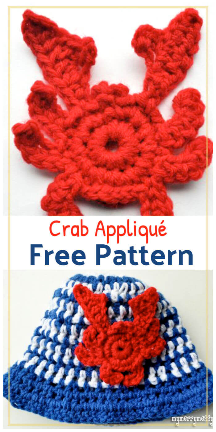 Free Crochet Crab Appliqué Pattern