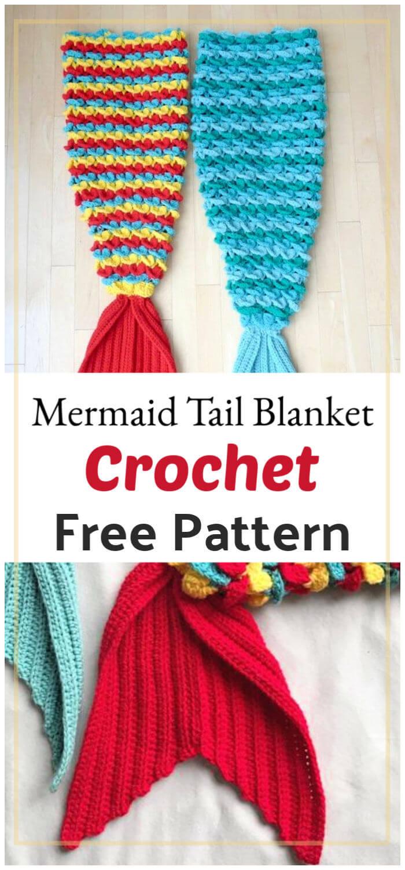 Free Crochet Crocodile Stitch Mermaid Tail Blanket Pattern