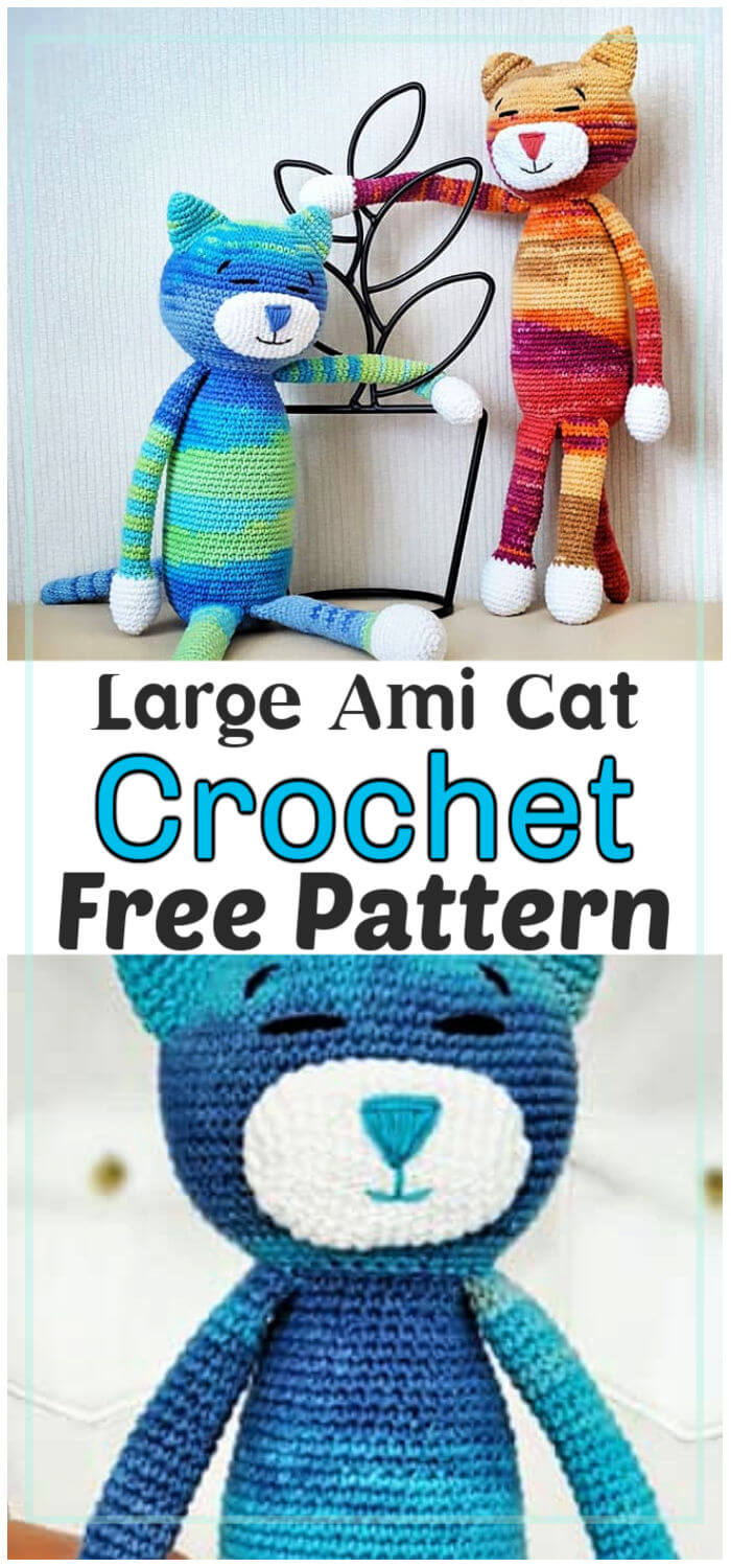 Large Ami Cat crochet pattern | Crochet cat, Crochet cat pattern ... | 1500x700