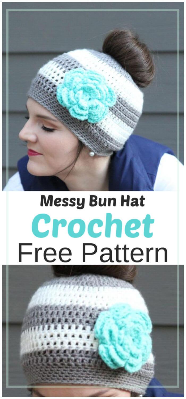 Free Crochet Messy Bun Hat Pattern 1