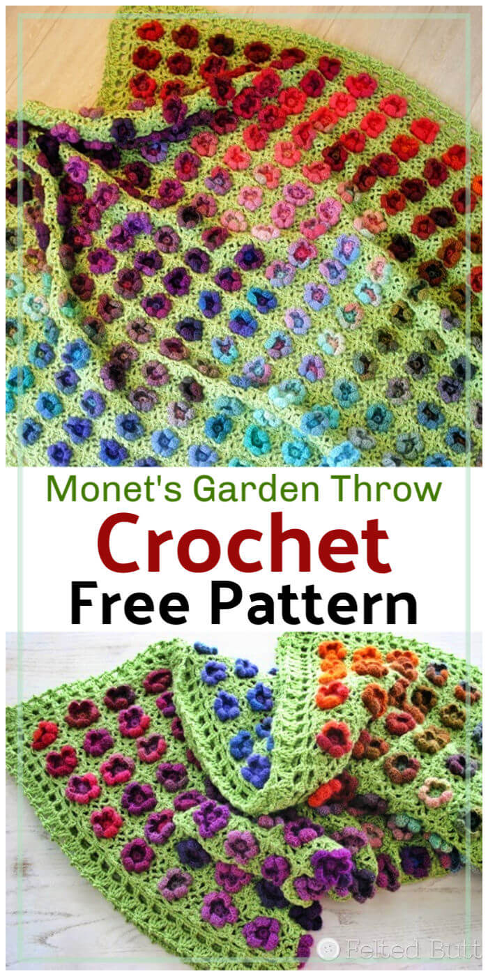 Free Crochet Monets Garden Throw Pattern